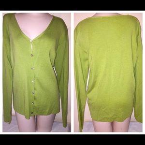 Spring Green Button Sweater by Ellen Tracy Sz L